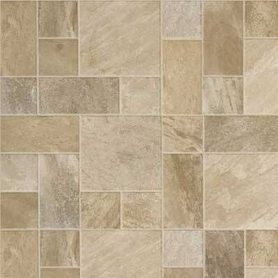 This laminate tile flooring from Mannington.This stone-style laminate tile floor emulates a cobblestone arrangement. A Teflon wear layer ensures durability. I think it will look good for bathroom