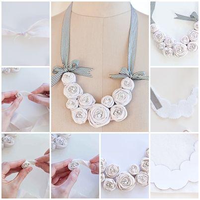 DIY Fabric Rosette Bib Necklace