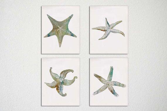 Starfish Wall Art, Set of four, Sea Star, Starfish Print, Autumn Wall Art, Fall Colors, Beach House Decor, Tropical Wall Art on Etsy, $39.99
