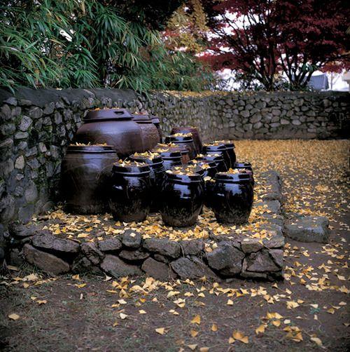 Traditional Korean pottery jars, or Onggi ware traditionally used for Doenjang,Ganjang,Gochujand and Kimchi