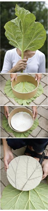Garden stones. Great idea. My mom use to make ceramic leaf bowls & dishes with a large leaf.