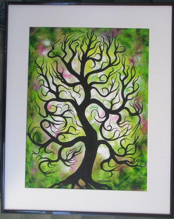 Tree painting, Spring, Original acrylic painting by Jordanka Yaretz