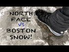 Boston snow storm hike with German Sheppard & Goodendoodle Agassiz Rock Essex MA USA