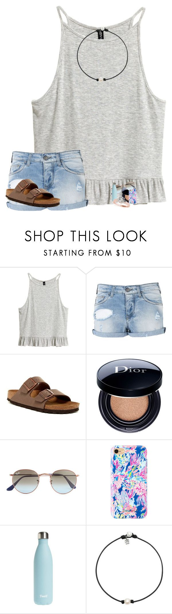 """•❤️❤️❤️•//mack\\"" by preppy-pass-girls ❤ liked on Polyvore featuring Armani Jeans, Birkenstock, Christian Dior, Ray-Ban, Lilly Pulitzer and S'well"