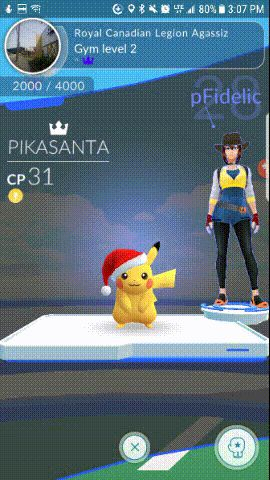 Feeling way too proud of leaving my piddly Pikachu with a Santa hat all alone at the gym.