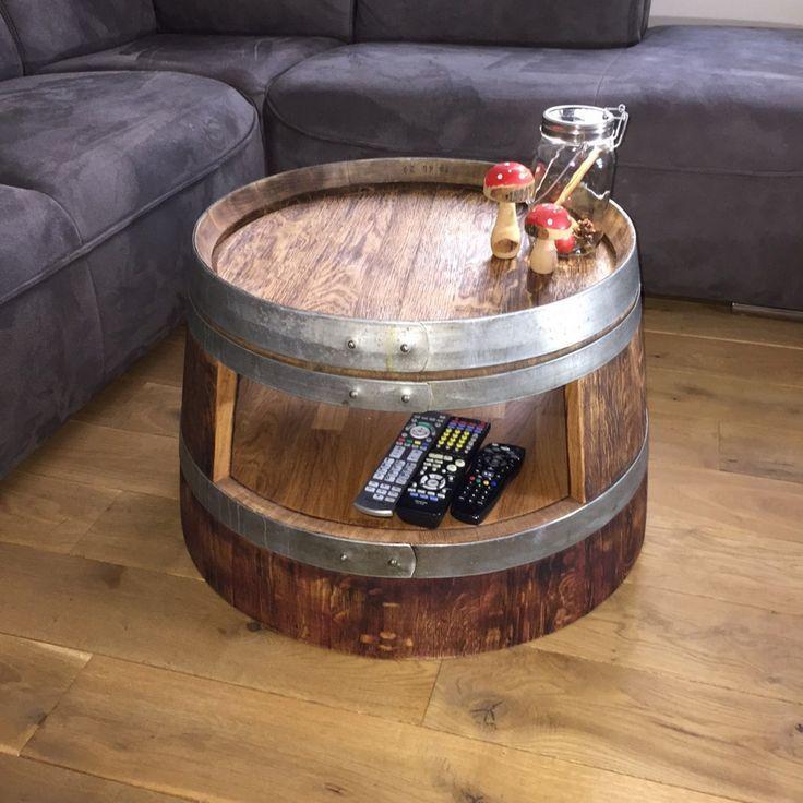 Weinfass Couchtisch Mit Einlegeboden Rustikal Holz Angekokelt Und