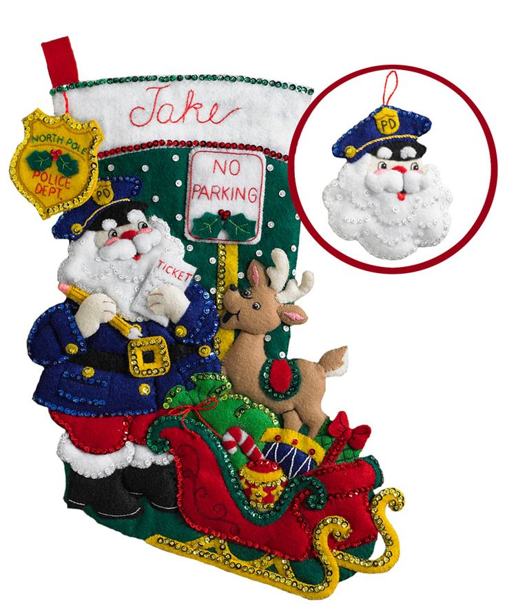 """Officer Santa is an adorable new kit (April 2017) from Bucilla. This felt appliqué stocking kit is 18"""" and comes with a free ornament. All new release items from Bucilla can be found at MerryStockings.com."""