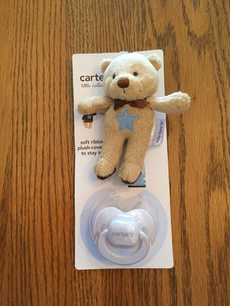 New Carter's Pacifier & Ribbon With Plush Teddy Bear Animal Clip NWT Cute!!!! #Carters