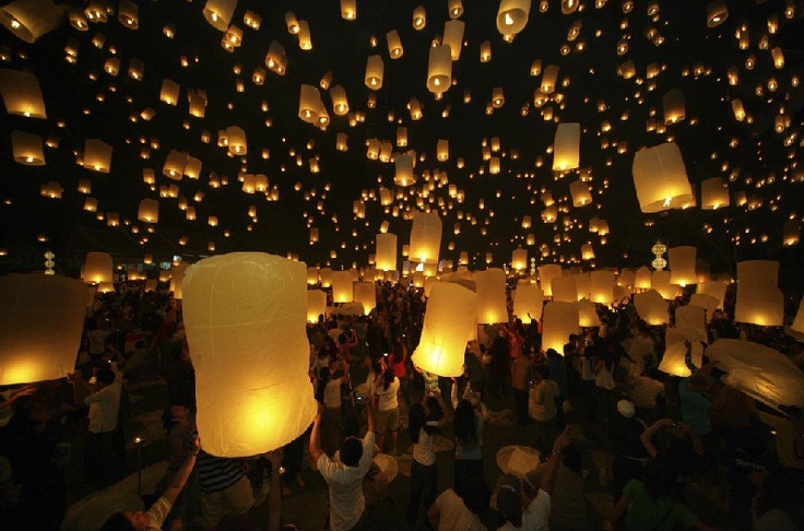 I will participate in the lantern festival in Chiang Mai, Thailand. Lanterns carrying good wishes are released into the night sky by Buddhist monks, how cool is that?