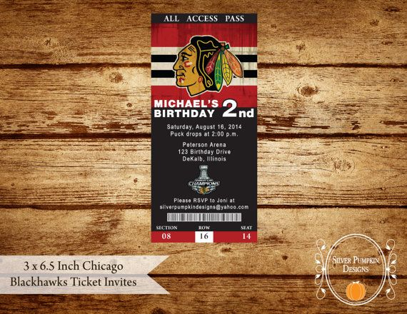 3 x 6.5 Inch Chicago Blackhawks Ticket by SilverPumpkinDesign