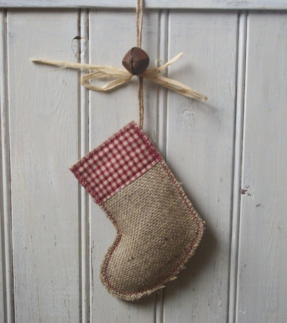 Rustic Burlap Hessian Christmas Stocking by RusticCountryCrafts, $7.00