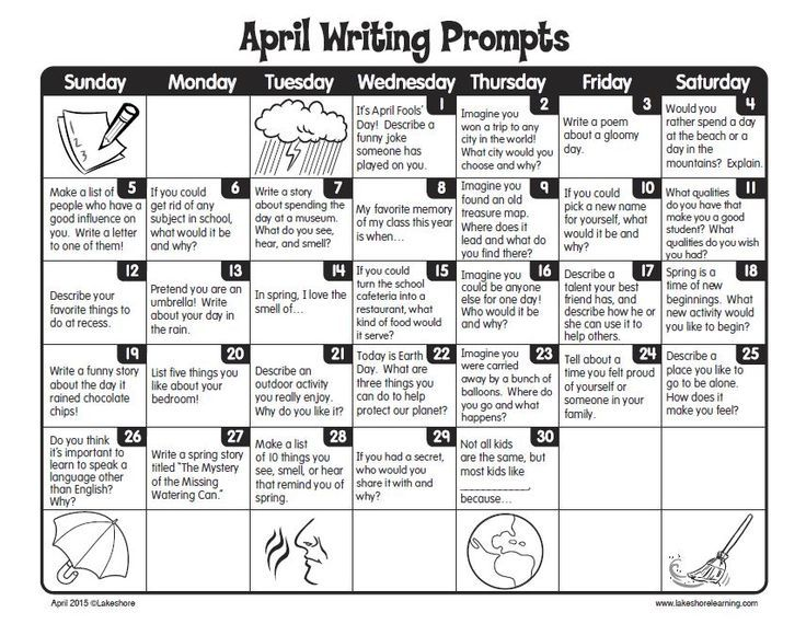 April Calendar Picture Ideas : Free printable april writing prompts calendar perfect