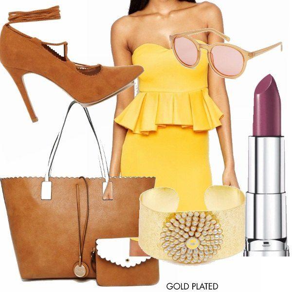Voglia di estate e sopratutto voglia di colore. Un bel giallo forte che mette allegria abbinato a un bellissimo color cuoio, occhiali da sole, bracciale gold, rossetto rosso prugna per essere davvero sexy!