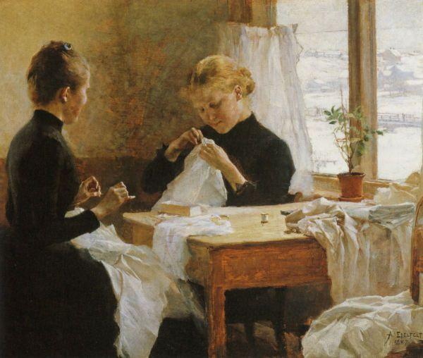 "ALBERT EDELFELT (1854-1905) ""Dressmakers"", 1887 - ""Ompelijattaret"""