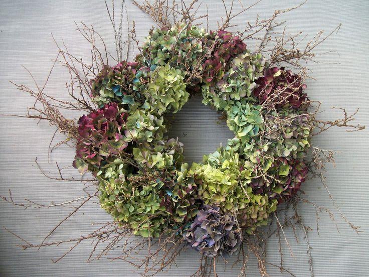 dried hydrangea and twig wreath