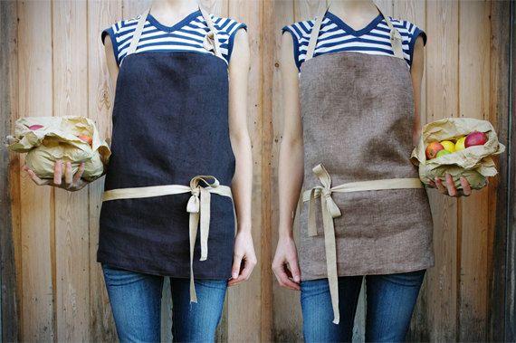 Handmade reversible full short linen apron by KnockKnockLinen