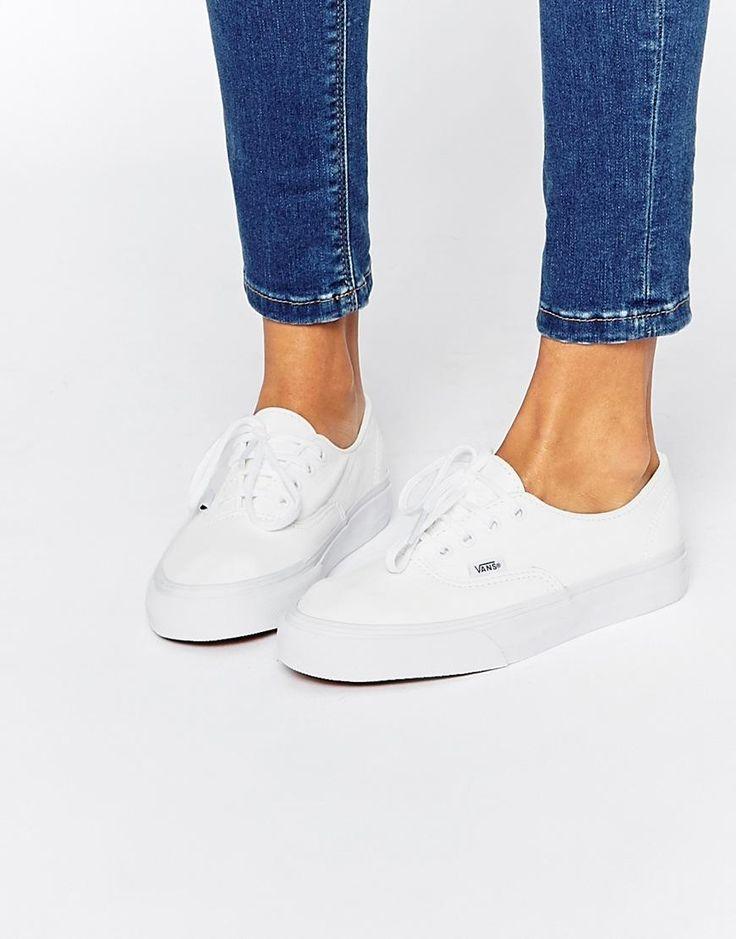 Vans   Vans Authentic Decon White Leather Sneakers at ASOS