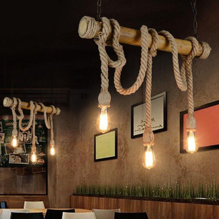 Luxus Hausrenovierung Esszimmer Pendelleuchten Eine Schone Beleuchtung Leuchten Zu Erhellen Ihr Spe #23: MEIREN Seil Anhänger Neuerungen Seil, Kronleuchter, Home Fashion Anhänger,  Vintage Stimmung , 3 Head