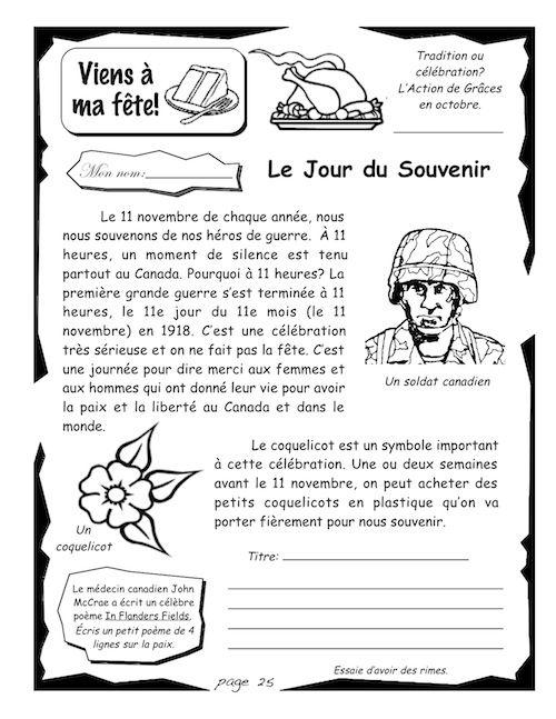 Le Jour du Souvenir – Cahiers d'activités N.G.