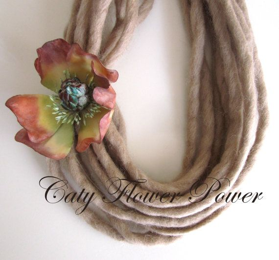 Felted Statement Necklace Rustic Necklace Wool by catyflowerpower