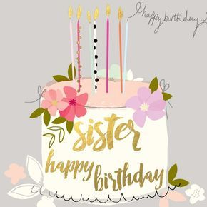 """Beautiful birthday card for sisters, featuring a birthday cake and caption: """"Happy Birthday Sister"""""""