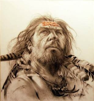 """""""An artist's depiction of a Neanderthal decorated with feathers."""" [Same photo pinned already, but with a different article.] """"Neanderthals were fashionable in feathers. [New discovery shows] our closest known extinct relatives were capable of creating art.""""  Article from 2011."""