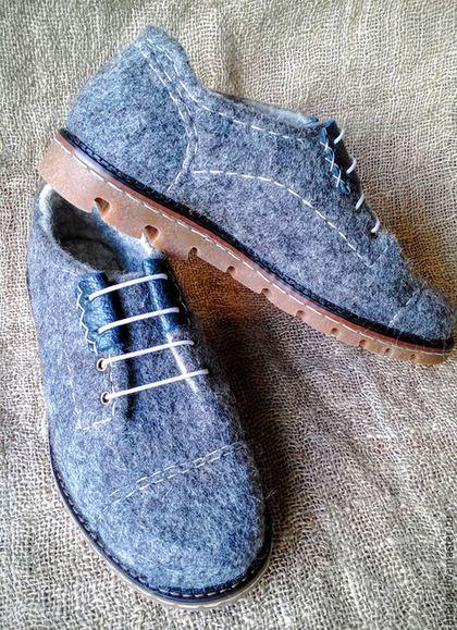 """Обувь ручной работы. Ярмарка Мастеров - ручная работа. Купить Туфли валяные мужские демисезонные """"Мужская радость-2"""". Handmade."""
