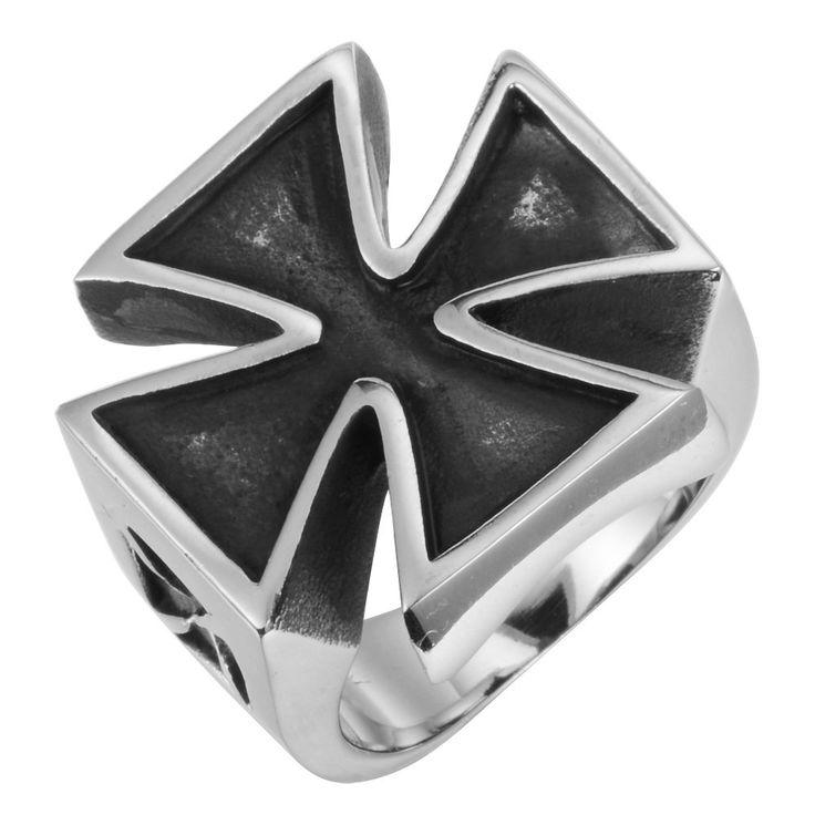 R&B Herren Ring Edelstahl - Kollektion Bad Ass - Holy Molly XL Kreuz (Silber, Schwarz): 22,90€