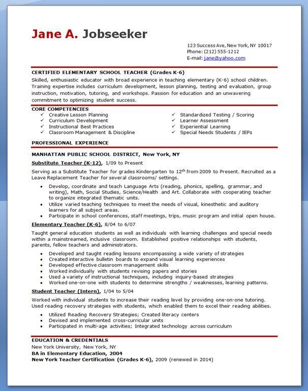 Free Sample Resume For Teachers template Teacher resume template