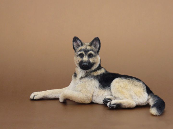 Dollhouse Miniature German Shepherd Dog by Kerri Pajutee  OOAK Sculpture-he looks jus tlike Rin Tin Tin!