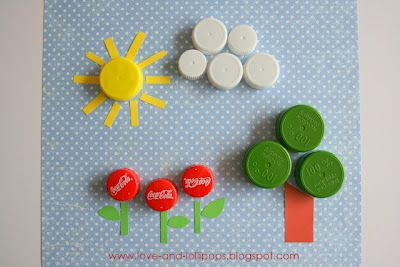 How cute is this! Earth Day craft using recycled bottle caps & cute scrapbook paper :)