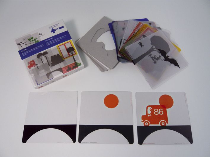 "Reissue of ""Plus and Minus"" by Bruno Munari from 1968. 72 transparent cards that you stack to create different scenes."