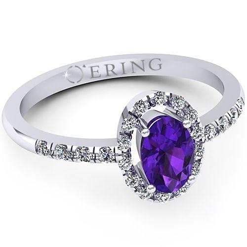 Inel logodna L07AAM inel cu diamante si ametist