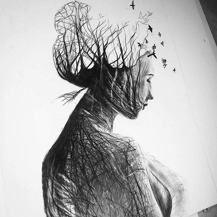 Gina Iacob erweckt in ihren Zeichnungen Mutter Natur zum Leben – und welch schönes Gesicht sie hatAngelina Kniess