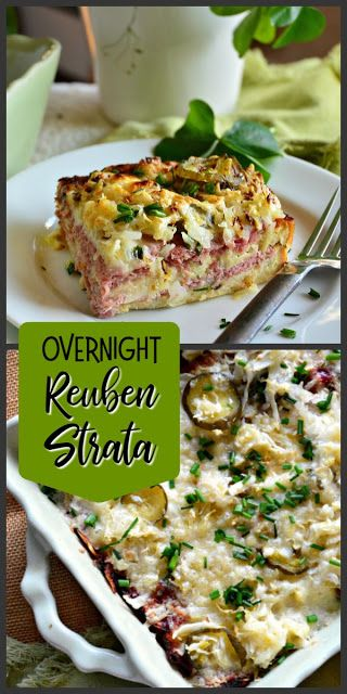 This Overnight Reuben Strata is perfect for breakfast, brunch or dinner. Quickly made and refrigerated overnight, this is a fun meal! #reubens #cornedbeef #breakfast #overnightcasserole #strata #brunch www.thisishowicook.com