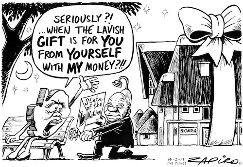 The State of the Nation address (SONA) will be delivered by President Jacob Zuma on the evening of Thursday, 14 February 2013. He is under pressure from opposition parties to address corruption. Zapiro's cartoon shows Zuma the giver and the receiver using the State's coffers.