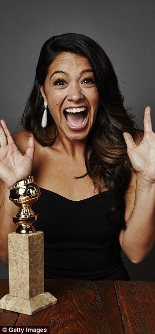 Delighted: Gina Rodriguez went wild for her Best TV Actress - Comedy prize for Jane the Virgin