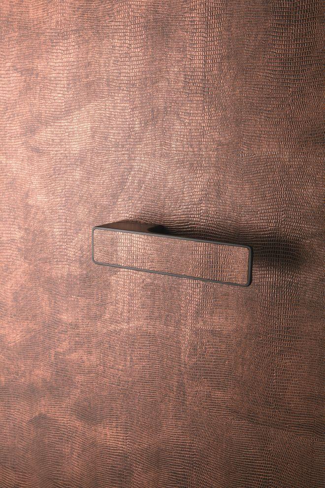 Měděné interiérové kování MAXIMAL s kůží - MT