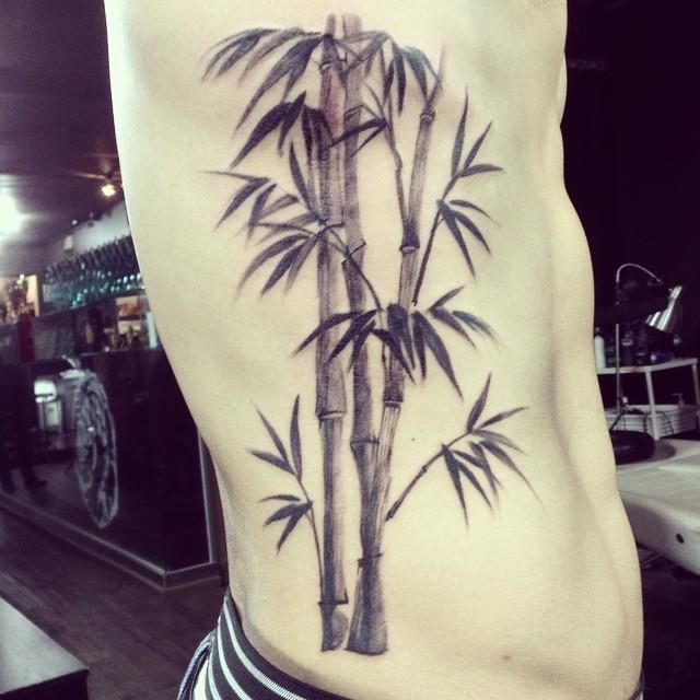 Chronic Ink Tattoo - Toronto Tattoo Water colour bamboo tattoo on the ribs, done by Martin.