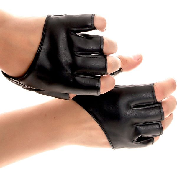 Vegan Fitness Gloves: Black Faux Leather Finger Cutouts Workout Gloves (225 MXN