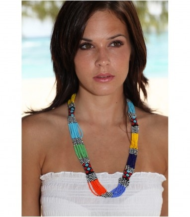 As seen in Grazia! Beautiful beaded and vibrant Masai necklace, hand-made in Kenya.  (68cm)
