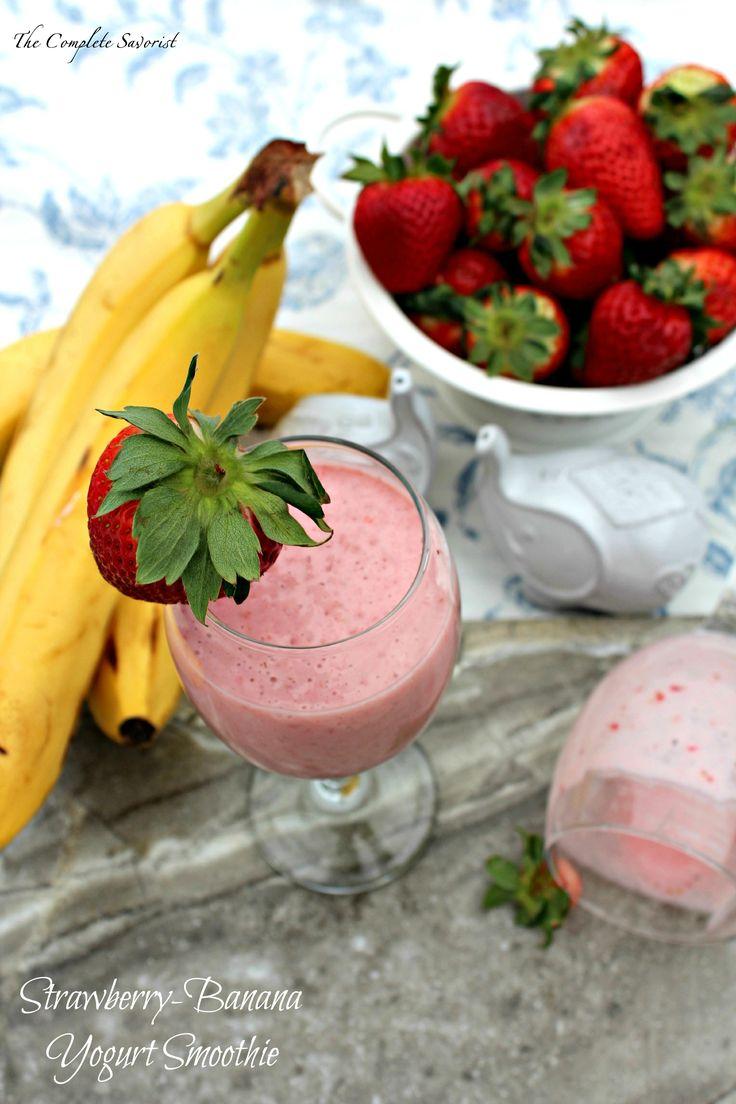 Strawberry Banana Yogurt Smoothie ~ The Complete Savorist A quick blend of fruit and Greek yogurt.