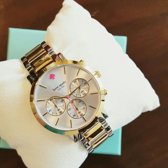 SBWS! Kate Spade Gramercy Grand Chronograph Watch Superbowl Weekend Sale! 15% off 2, 20% off 3+ Sat & Sun ONLY! Stunning, NWT Kate Spade Gramercy Grand Chronograph watch with stainless steel and 14K gold- plated hardware, mineral crystal face and dainty, bright pink Kate Spade logo. Ships NIB, w/ original, iconic tiffany blue and red box and owner's manual. kate spade Accessories Watches