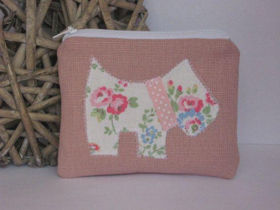 Scottie Dog Purse  Pink linen & Floral  Zip by HomeChicHomeGifts