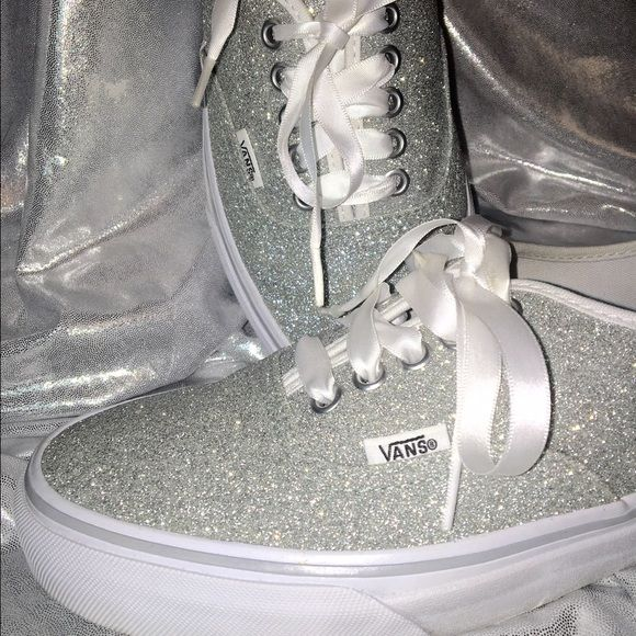 UPDATED! Authentic Glitter Vans These shoes need no words. But this iconic style is a simple low top, but to me, there is nothing simple about this shimmer glitter canvas upper! Worn once indoors and they were a big hit! Shown with satin and original shoe strings. Price Firm. Vans Shoes Athletic Shoes