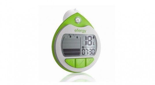 Efergy Shower Timer and Alarm -   A clever little gadget that is able to monitor the amount of water going doing the drain. Quickly and easily calibrate it to your shower, set your own target, and then hang it on your showerhead. Turn on the timer every time you start your shower. The alarm will sound when you have met your target volume of water, letting you know that it's time to go dry off. The smart device will help you learn how to cut down on time with each shower.