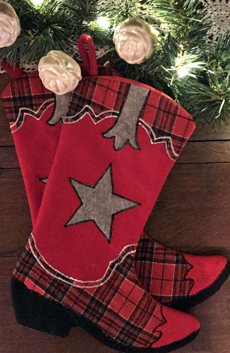 Cowboy Boot Christmas Stockings -red plaid and very cute
