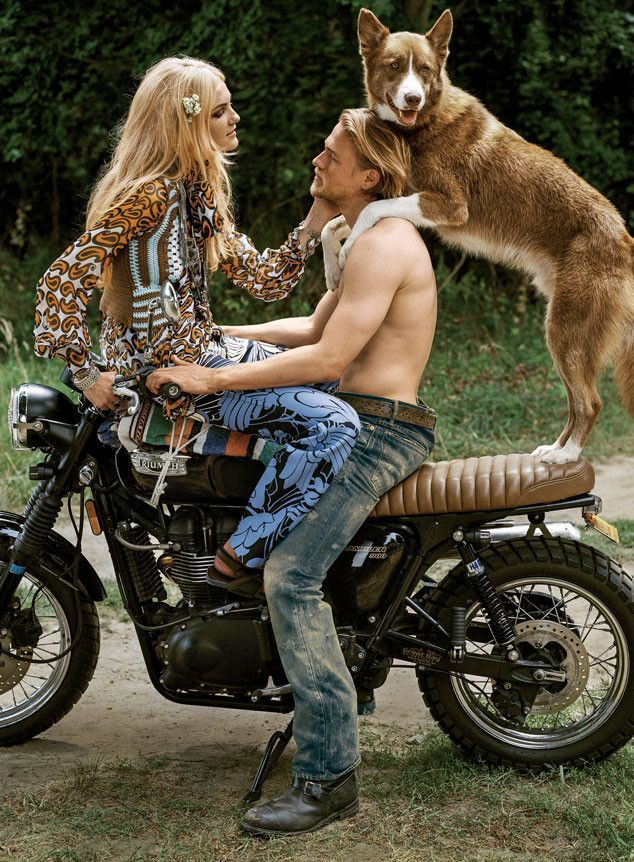 Charlie Hunnam Goes Shirtless for Vogue, Rides a Motorcycle With Man's Best Friend?See Pics!