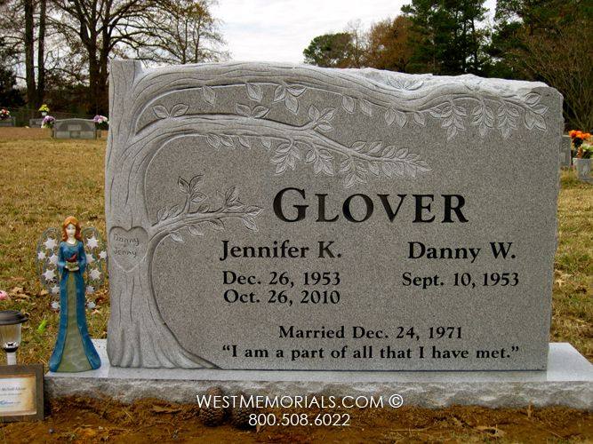 Glover Carved Tree Design Companion Headstone in Granite