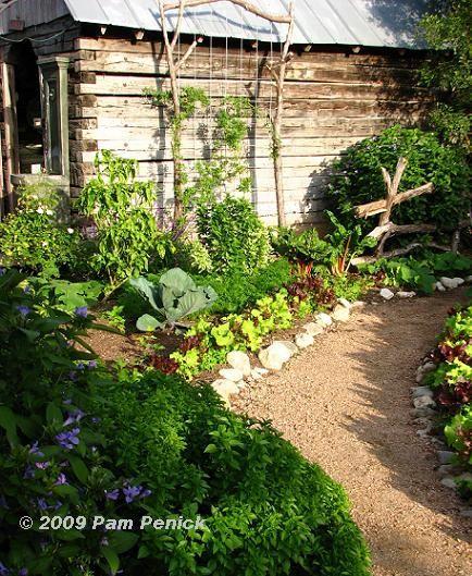 Modern Or Rustic Front Landscape Design: Vegetable Garden Path...fantastic!